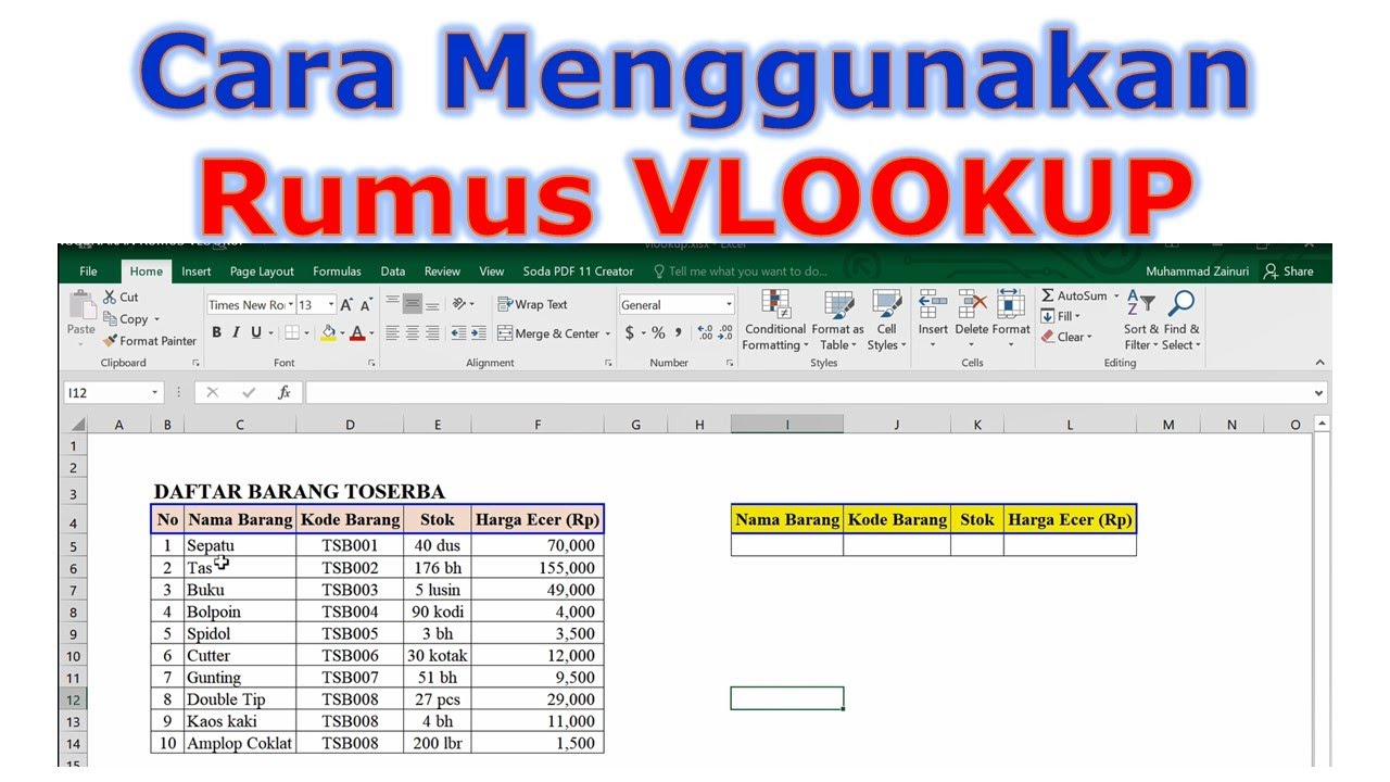 Cara Menggunakan Rumus Vlookup Excel Youtube