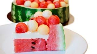 Торт из арбуза и дыни. Как приготовить летний торт. Кулинарный креатив