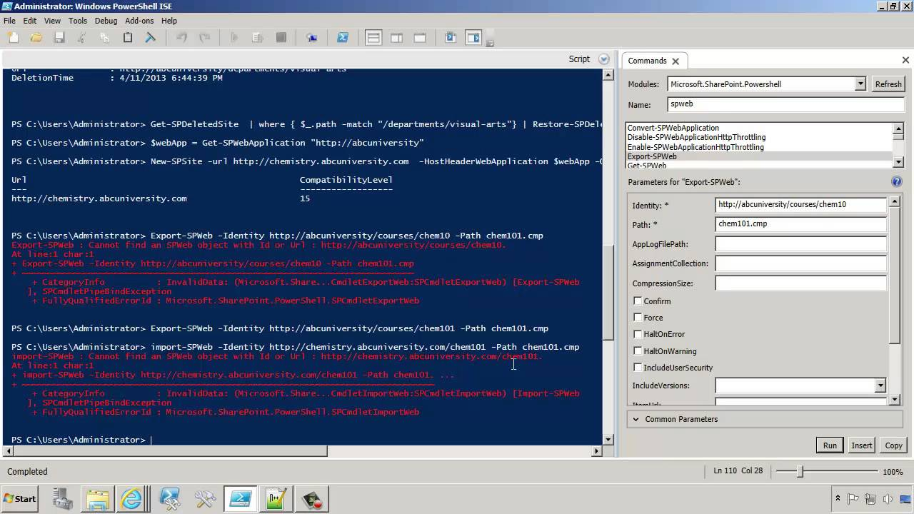 SharePoint 2013: Export and Import a Site and a Library Using PowerShell
