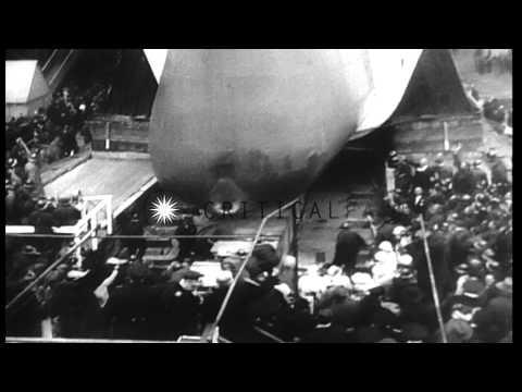 Margaret Truman christens battleship USS Missouri during its launch in United Sta...HD Stock Footage
