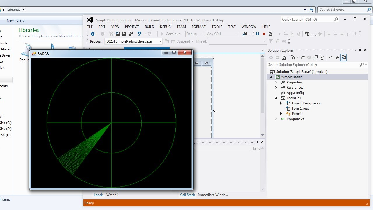 Visual Studio | Design a simple RADAR screen in C#