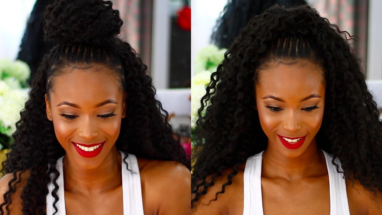 HALF UP HALF DOWN MULTIPLE CROCHET HAIRSTYLES CURLY CROTCHET