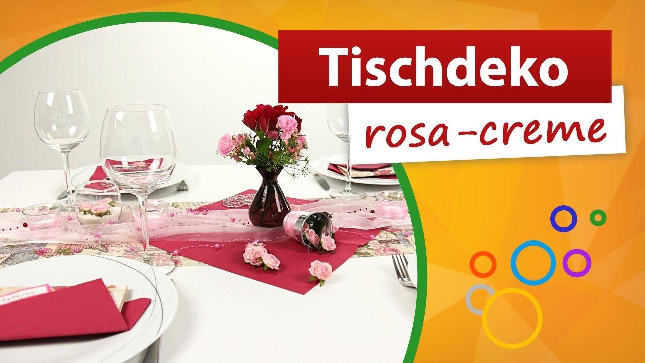 Tischdeko Rosa Creme Tischdekoration Trendmarkt24 Youtube