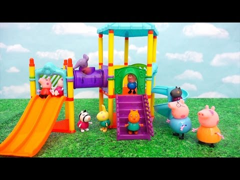 Peppa Pig at the Park ! Toys and Dolls Pretend Play for Kids in Peppa & Friends Playground | SWTAD