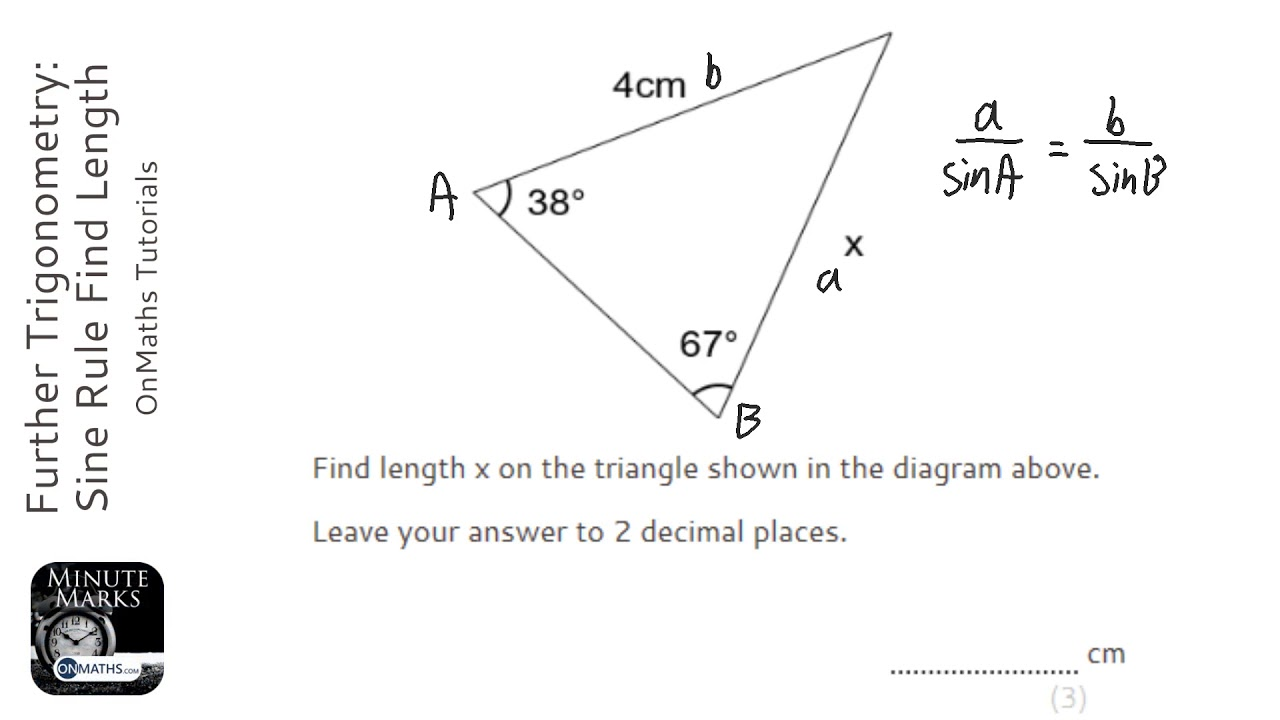 Further Trigonometry: Sine Rule Find Length (Grade 7