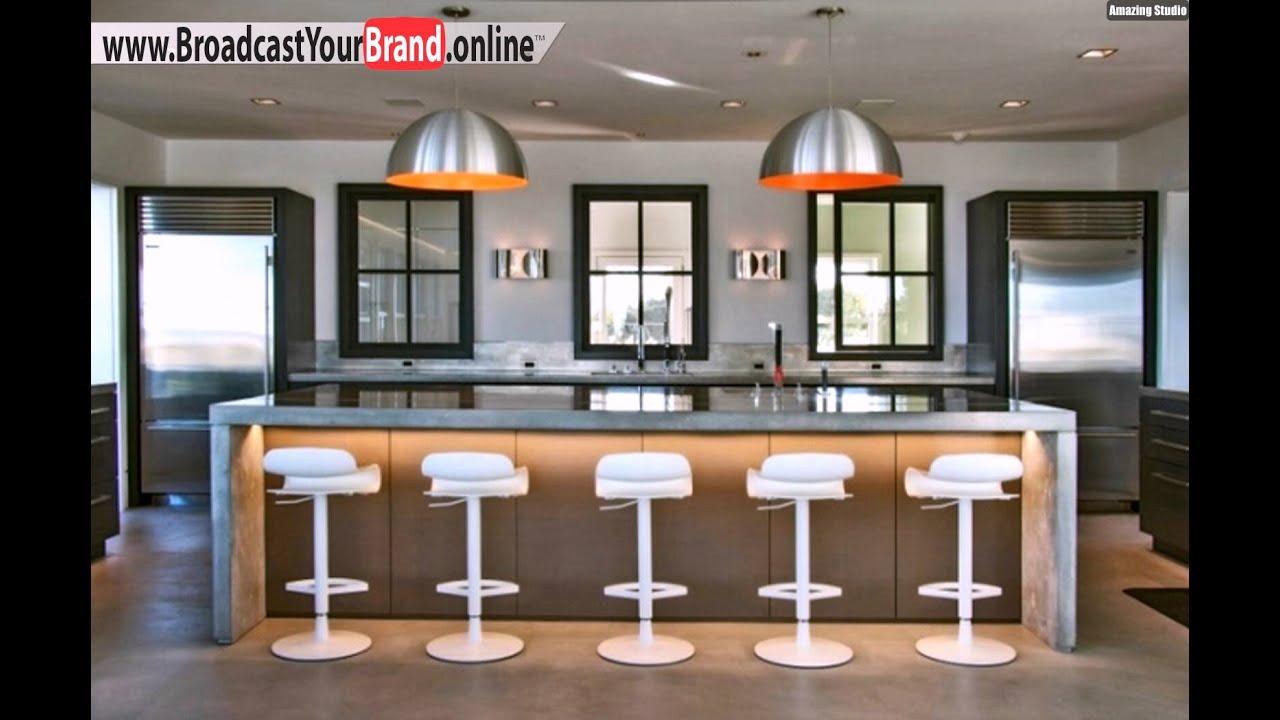 Wohnideen küche modern grau einbauleuchten stahl pendelleuchten