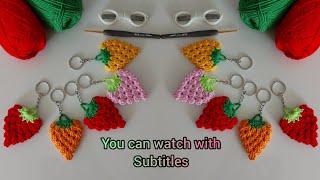 Tığ işi çilek anahtarlık yapımı - amigurumi anahtarlık - örgü anahtarlık - örgü modelleri~ subtitles