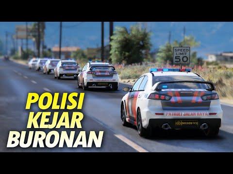 6 Unit Mobil Polisi Konvoi Kejar Buronan - Gta 5 Polisi PJR Indonesia
