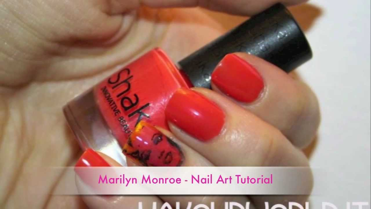 Marilyn Monroe - Nail Art Tutorial (DIY Decals) - YouTube