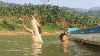 Trưa Nắng Tắm Sông Tranh Thủ Thả Lưới Cá || TVN Lai Châu