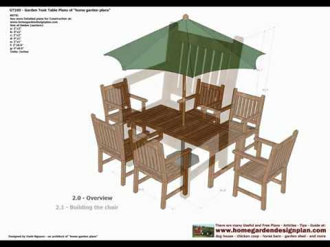 GT100 - Garden Teak Table Woodworking Plans - Outdoor Furniture Plans Free
