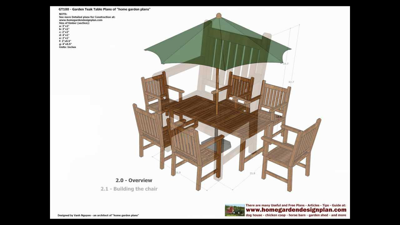 GT100 - Garden Teak Table Woodworking Plans - Outdoor ...