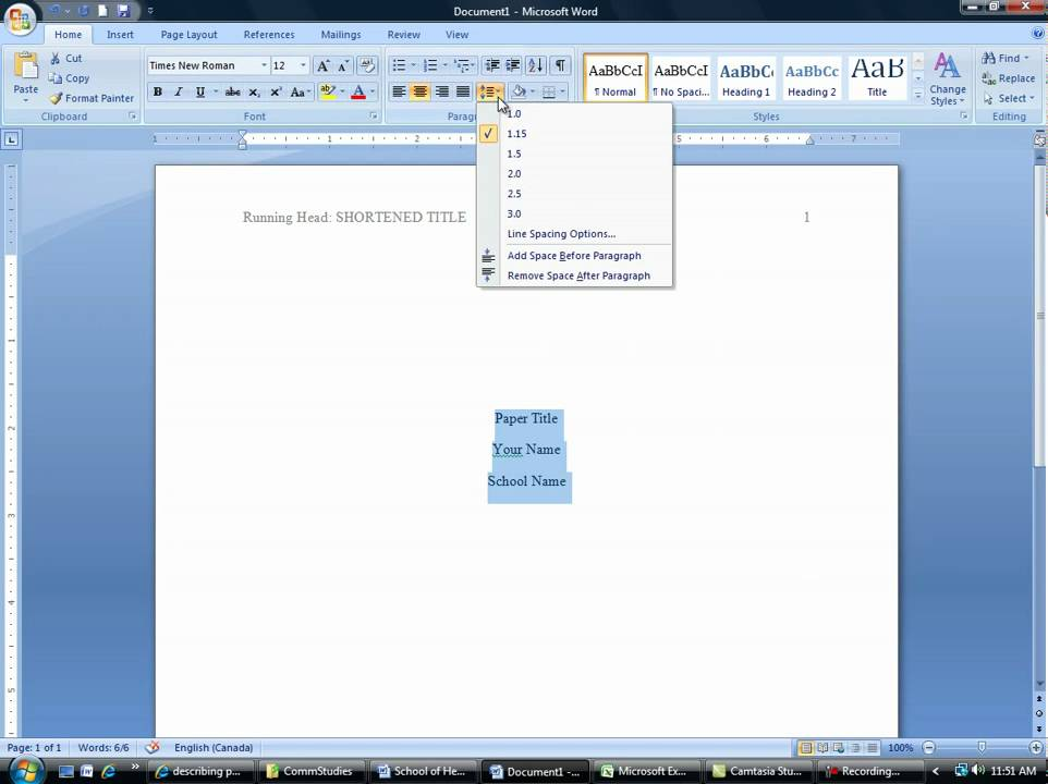 microsoft office apa 6th edition template
