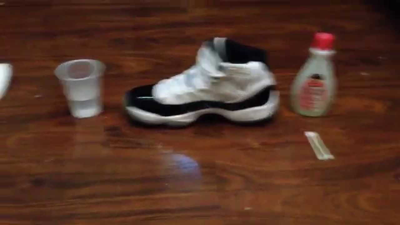 How to clean remove scuffs from patent leather on Jordan 11s - YouTube 73072e347ecb