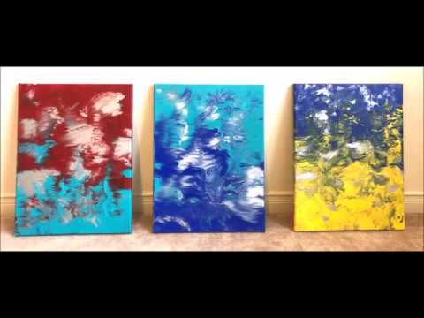 DIY Easy 3 canvas abstract wall art painting| Dip technique| Acrylic Paint Series|iPhone X