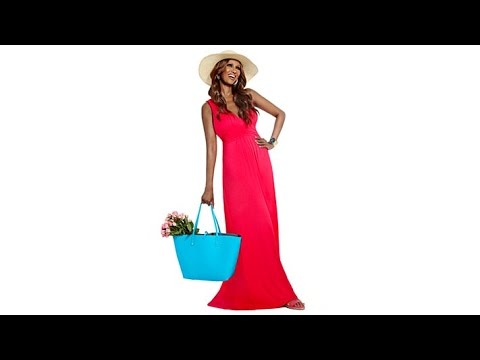 f5940ab597e IMAN Global Chic Glam Maxi Dress with FREE Resort Sun Hat - YouTube