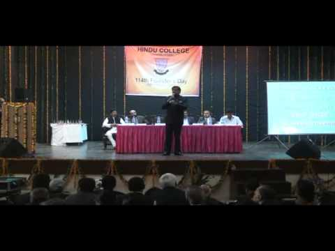 Shashi Tharoor speaking at Hindu College's 114th Founders Day
