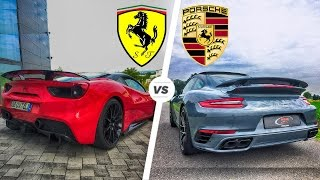 Porsche 911 Turbo S 2017 vs Ferrari 488 GTB Exhaust SOUND & Acceleration POV Drive