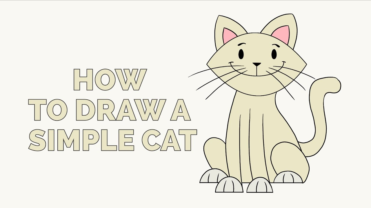 How To Draw A Simple Cat Easy Step By Step Drawing Tutorial Youtube