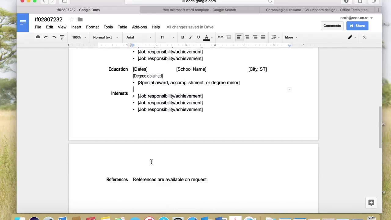 Edit A Resume Template In Google Docs  Resume Templates On Google Docs