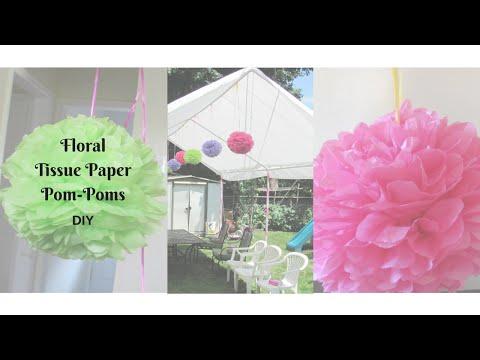 Floral Tissue Paper Pom-Poms | Minnie Mouse Party | DIY