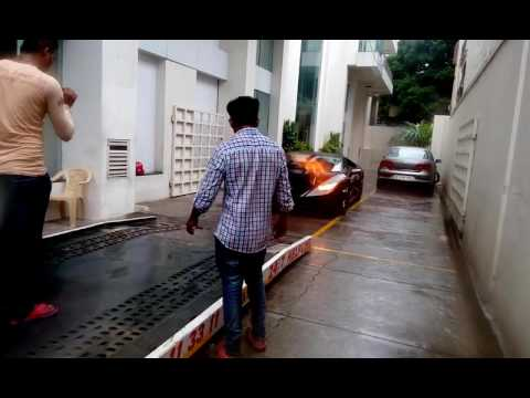 A D  Lamborghini huracan comes out the Bangalore showroom for delivery