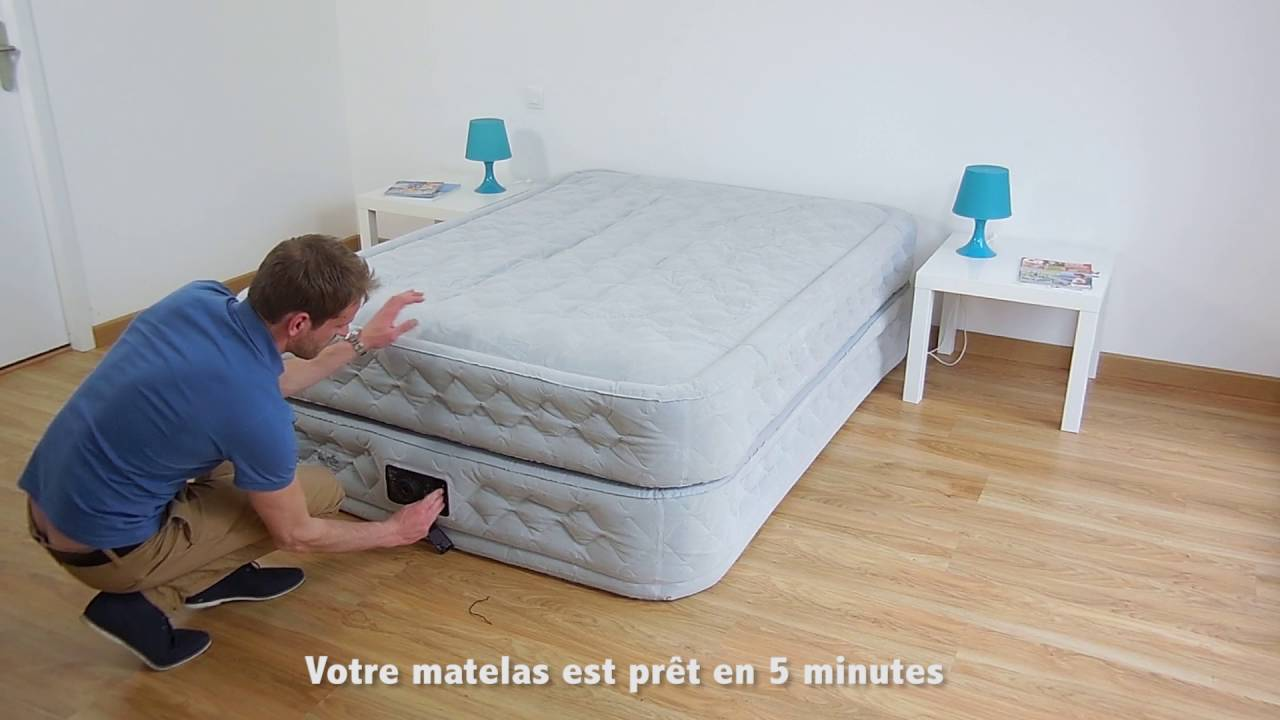 Lit Gonflable électrique Intex Premaire Dream Support 2 Personnes Matelas Gonflable Intex Supreme Bed Fiber Tech 2 Places 64464