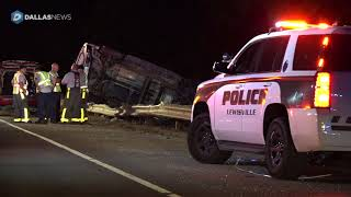 Driver rescued from SUV that rolled over guardrail on Highway 121 in Lewisville