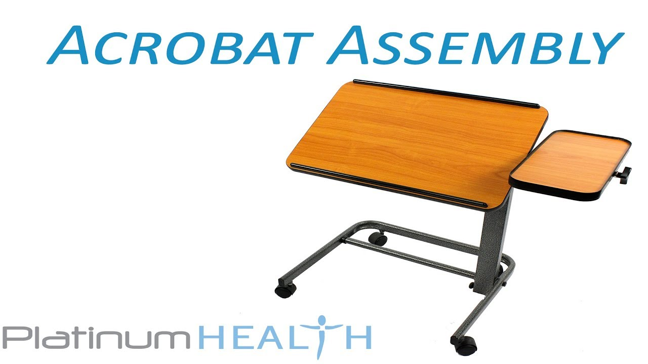 Laptop Table For Bed   How To Assemble The Acrobat Adjustable Over Bed Table  With Wheels