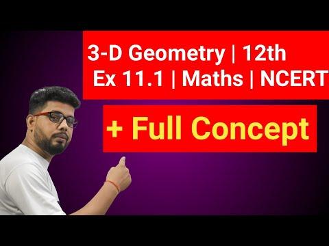3 D Geometry | Three Dimensional Geometry | Exercise 11.1 NCERT CLASS 12TH | त्रिविमीय ज्यामिति