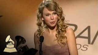 Taylor Swift accepting her first GRAMMY Award for Best Female Country Vocal Performance