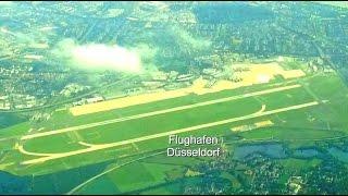 Tokyo Dreamliner Landung in Düsseldorf mit super Blick auf den Flughafen und alle Ortschaften