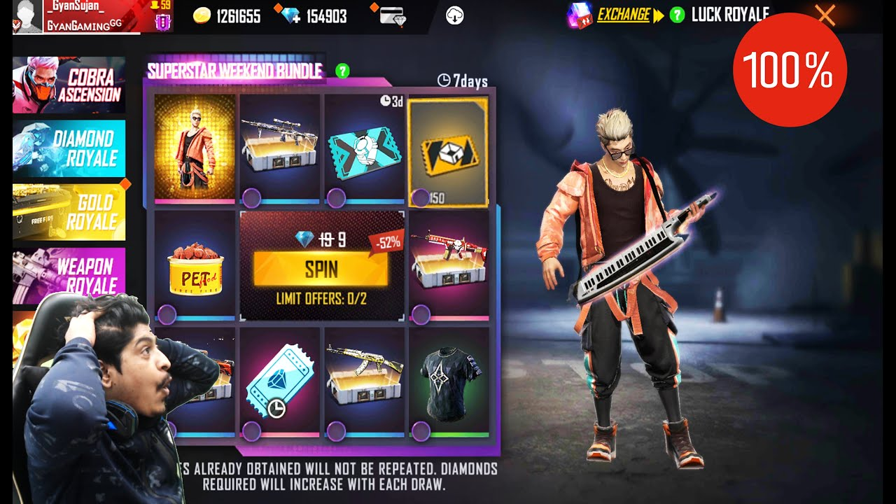 New Superstar Weekend Bundle Spin Luck Royale | 150 Custom Room ? | Garena Free Fire