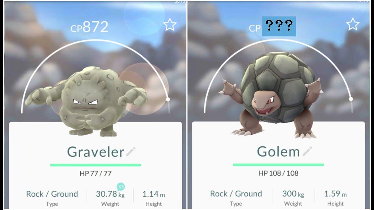 Pokemon Go Graveler(872) Evolution to +1400Golem - YouTube