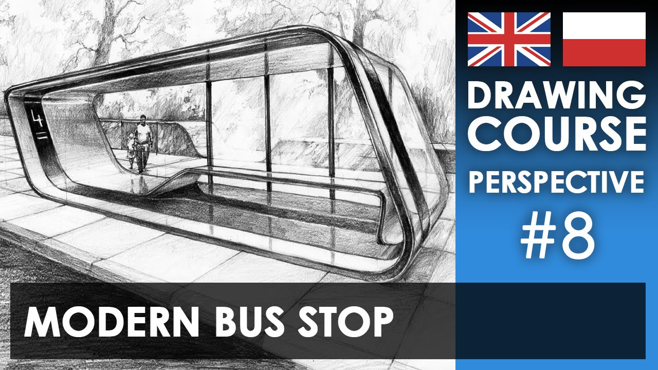 Drawing Tutorial Modern Bus Stop Kurs Rysunku Nowoczesny