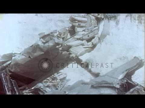 Views of U.S. military aircraft scrapped at American Naval Air Base, Tsingtao...HD Stock Footage