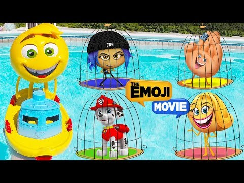 Thumbnail: The Emoji Movie GENE SWIMMING Pool Jail Playset Lock and Key Rescue with Paw Patrol Skye