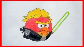 How to draw Angry Birds Star Wars, Luke Skywalker Bird