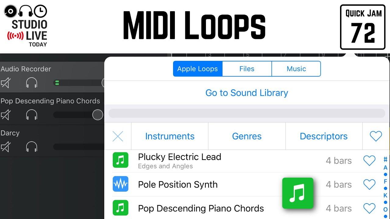 How to use MIDI loops in GarageBand iOS (iPhone/iPad)