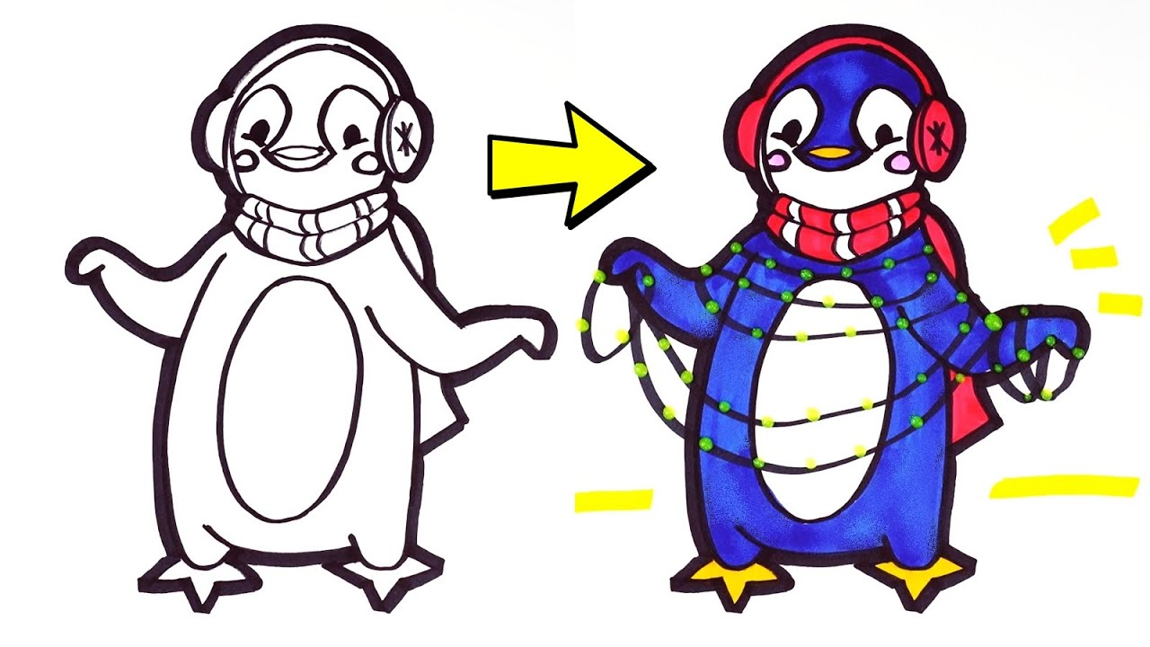 Easy Penguin Drawing and Coloring for Kids | How to draw Christmas penguin.