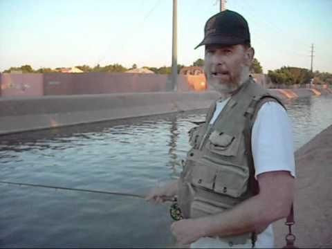 Kerry Fly Fishing on a canal in Gilbert AZ