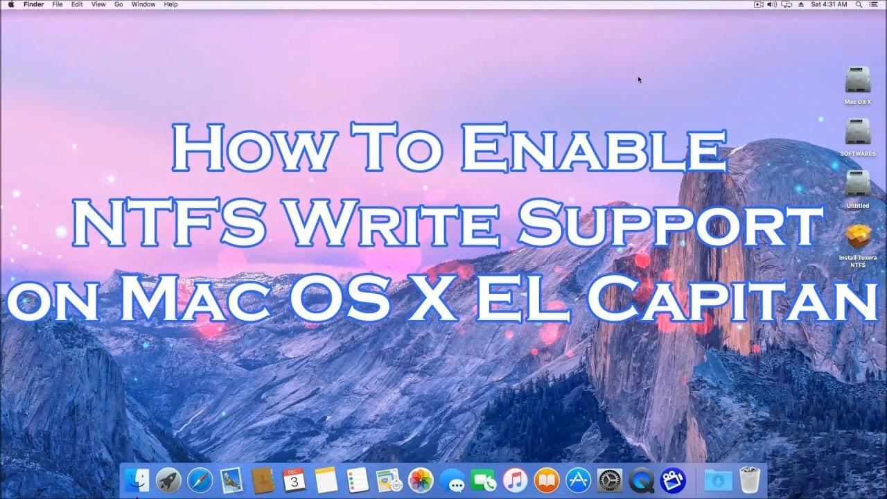 How To Enable NTFS Write Supporrt on Mac OS X El Capitan