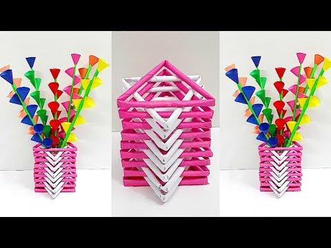 DIY - Paper Flower vase with Paper Flower stick step by step for home decor DIY-Room Decoration Idea