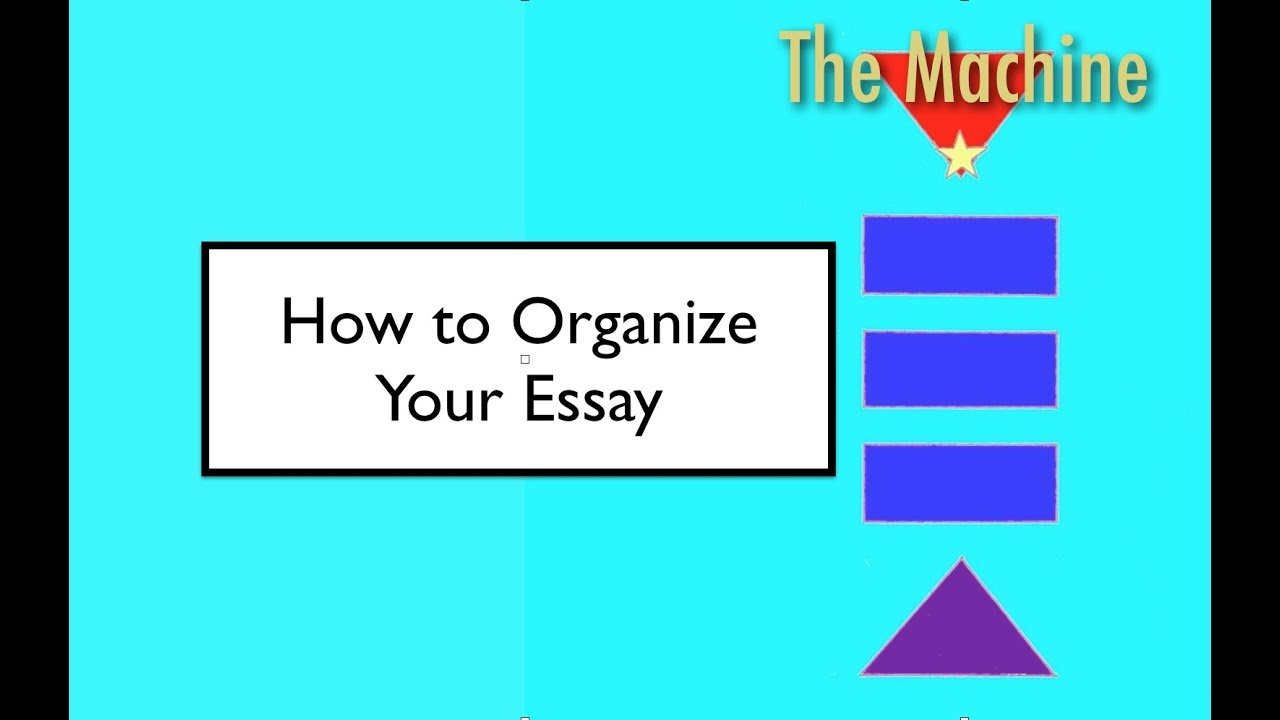 three ways to organize an essay Essay writing involves presenting an argument and communicating  exams, it  is important to take the time to organise and structure the essay before starting to  write)  again you will discover which method works for you as you go along.