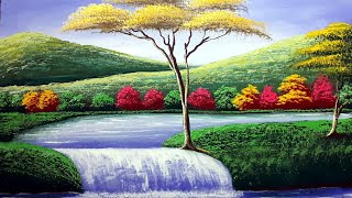 Autumn waterfall senary painting || step by step for beginners