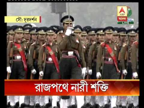 Women brigade of three arms of indian army on march during parade at delhi.