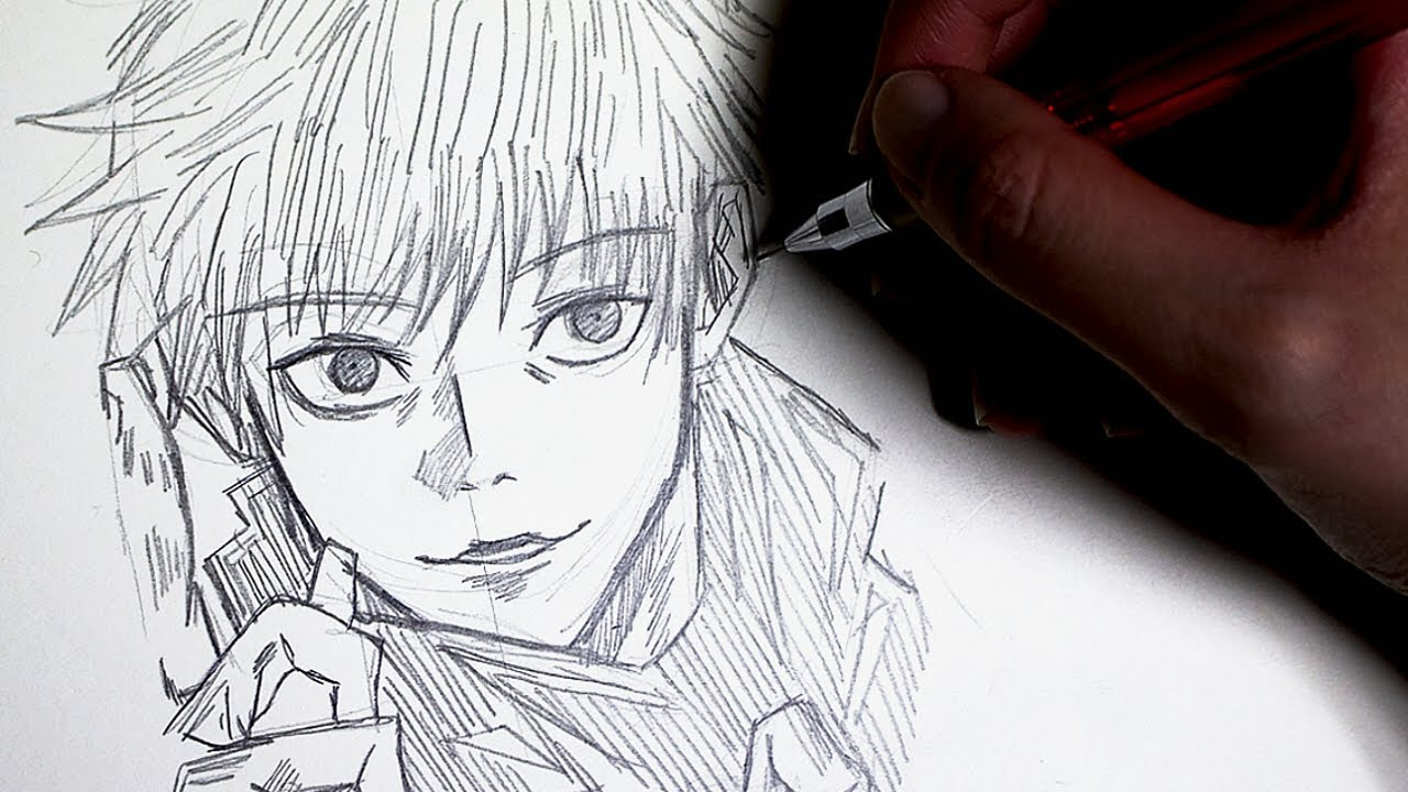 주술회전 How To Draw Jujutsu Kaisen Satoru Gojo ┃고죠 사토루 그리기┃manga draw┃페이퍼 스토리📖