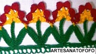 Como fazer barrado floral em crochê