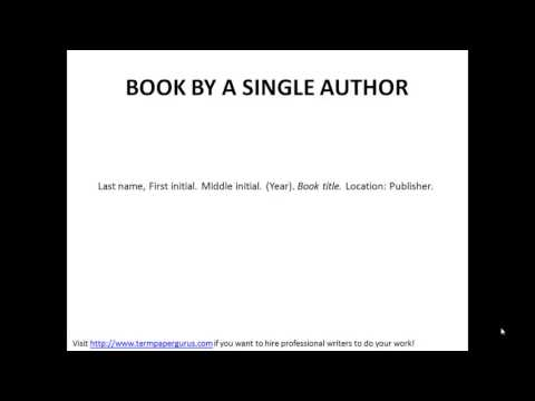 How to cite a book written by a single author in apa format youtube how to cite a book written by a single author in apa format ccuart Images