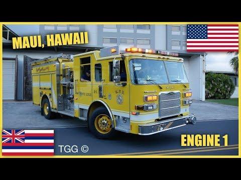 [Hawaii] Maui County Fire Department Engine 1 Responding (Wailuku Fire Station)